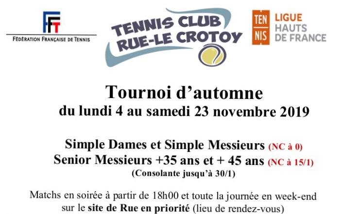 Tournoi d'automne du lundi 04 au samedi 23 novembre 2019